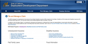 California CA Employment Development Department (EDD) page